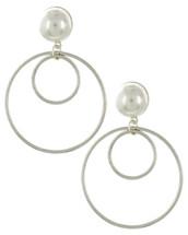 Pearl Double Hoop Earrings: Gold Or Silver
