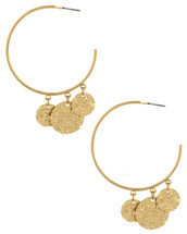 Hoops With  Disc Drops earrings: Gold OR Silver