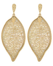 Leaf Earrings With White Inlay