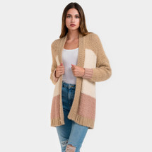 Color Block Knitted Cardigan - Dust