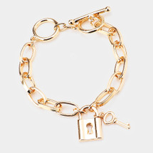 Lock & Key Toggle Bracelet: Gold Or Silver