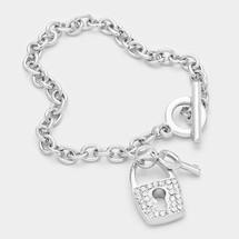 Crystal Lock/Key Toggle Bracelet