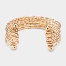 Multi Strand Textured Metal Cuff Bracelet