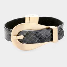 Snakeskin Buckle Bracelet - Black