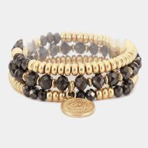 Faceted Beaded Metal Coin Charm Bracelet Set