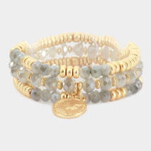 Faceted Beaded Metal Coin Charm Bracelet Set - Grey