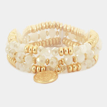 Faceted Beaded Metal Coin Charm Bracelet Set - White