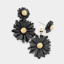Black Daisy Front/Back Earrings