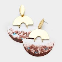 Paint Splash Metal Geo Earrings