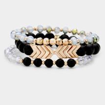 Chevron Semi Precious Bracelet Set - Black