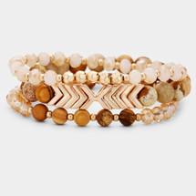 Chevron Semi Precious Bracelet Set - Brown
