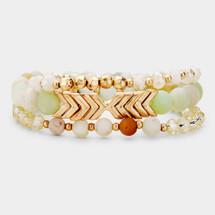Chevron Semi Precious Bracelet Set - Mint