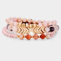 Chevron Semi Precious Bracelet Set - Pink