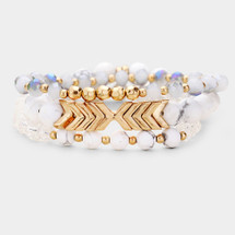 Chevron Semi Precious Bracelet Set - White
