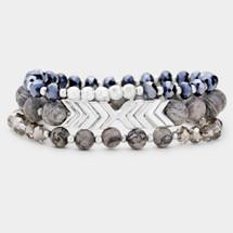 Chevron Semi Precious Bracelet Set - Grey