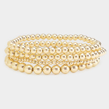 4PCS Classic Metal Ball Stretch Bracelet Set: Gold Or Silver