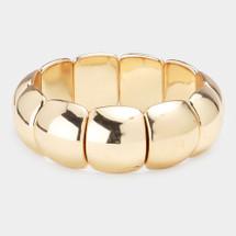 Curved Modern Metal Stretch Bracelet: Gold Or Silver