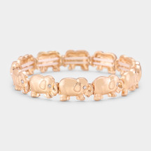 Elephants Stretch Bracelet: Gold Or Silver