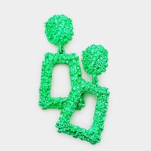 Trapezoid Door Knocker Earrings: Green
