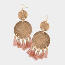 Double Coin Tassels Earrings: Rose