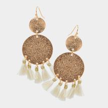 Double Coin Tassels Earrings: Ivory