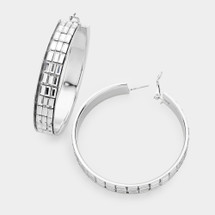 Rectangle Crystal Hoop Earrings