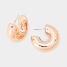 Round Wire Hoop Earrings - Rose Gold