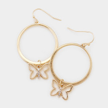 Open Circle Crystal Butterfly Hoop Earrings: Gold Or Silver
