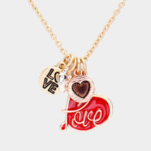 Love Heart Pendant Charms Necklace: Gold OR Silver