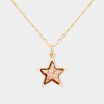 Druzy star Pendant Necklace: Rose Gold