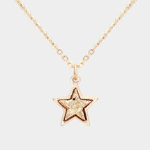 Druzy star Pendant Necklace: Gold