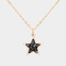 Druzy star Pendant Necklace: Black