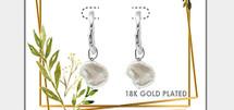 Natural Pearl Hoop Drop Earrings: Gold Or Silver