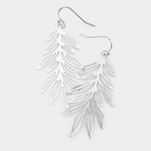 Metal Cut Out Flora Leaf Earrings: Gold Or Silver