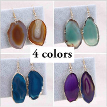 Gold Dipped Agate Slice Earrings: More Colors