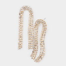 Curved Crystal Earrings: Gold Or Silver