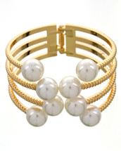 Pearl Hinged Cuff: Gold Or Silver