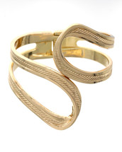 Textured Looped Hinged Cuff: Gold Or Silver