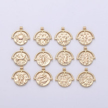 Gold Filled Zodiac Double Sided Necklace