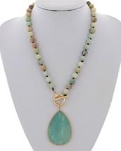 Semi Precious Beaded Chalcedony Necklace