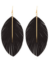 Leather Feather Bar Earrings