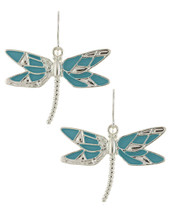 Turquoise + Silver Dragonfly Earrings