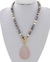 Rose Quartz Semi Precious Beaded Necklace