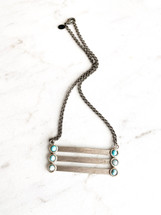 Turquoise & Silver Bars Necklace: LAST ONE!