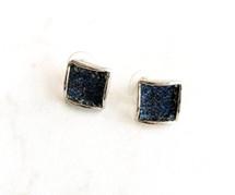 Denim Square Stud Earrings: ONLY PAIR EVER!