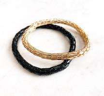 Black + Gold Stretchy Bracelet Set: LAST ONES!