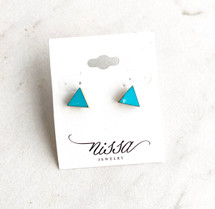 Natural Turquoise W/ Gold Triangle Earrings: ONLY PAIR!
