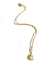 Delicate Natural Chrysophrase Stone Pendant Necklace: ONLY ONE!