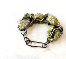 Tweed Chain Link Bracelet - Gunmetal/Yellow/Grey: ONLY ONE!