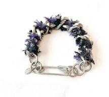 Chain Link Tweed Bracelet: Silver w/ Black /Purple: ONLY ONE!